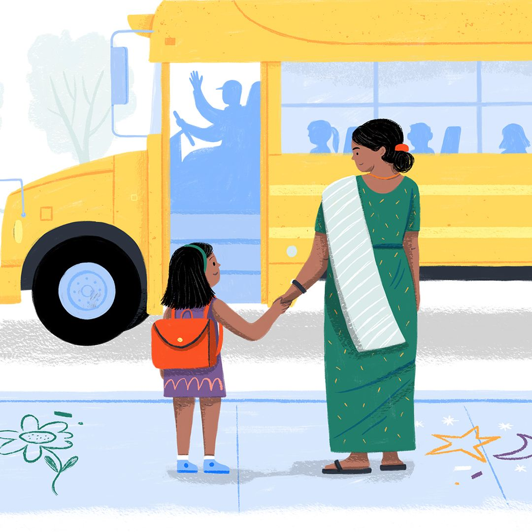 mother and child waiting for school bus