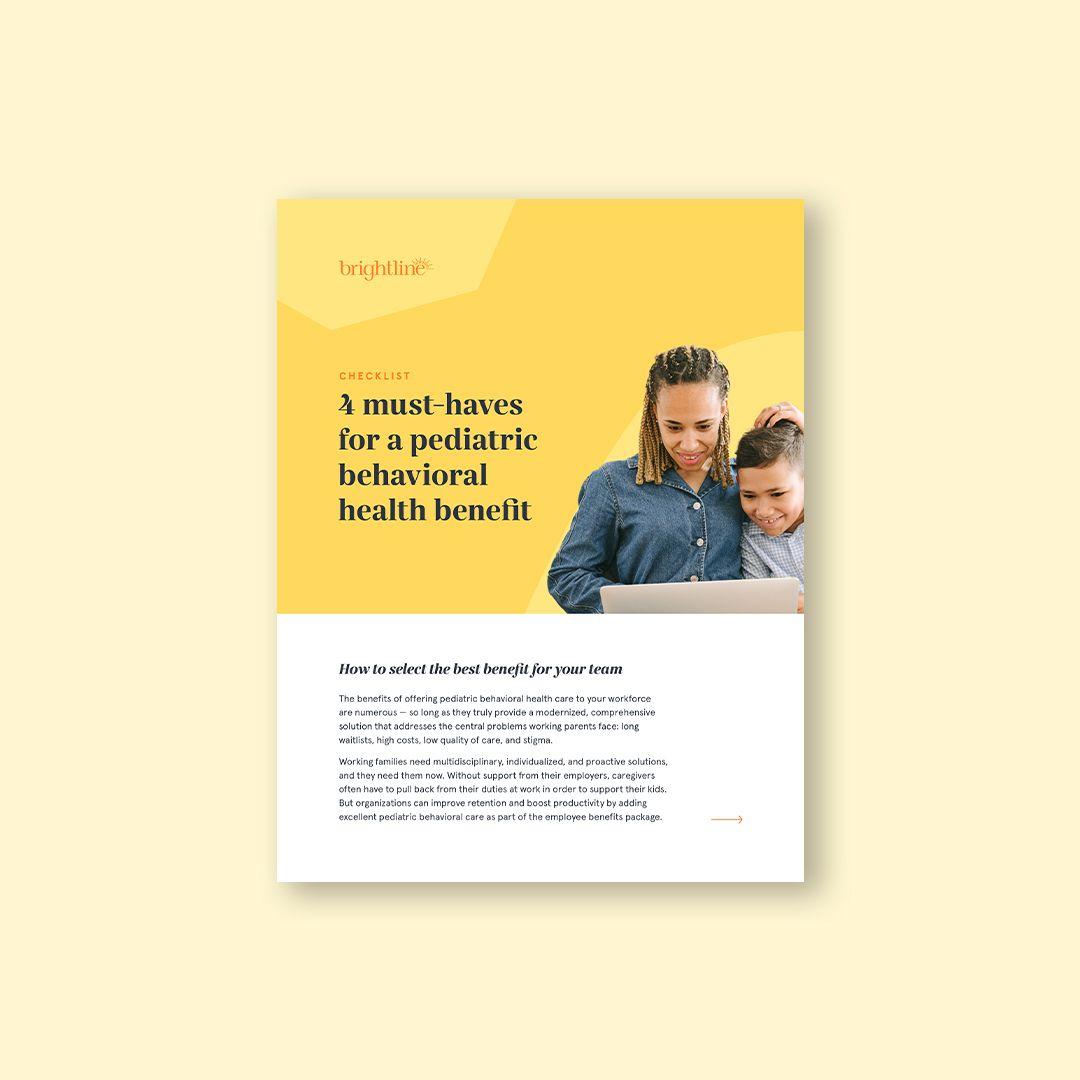 checklist pediatric behavioral health benefit